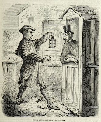 Jack startles the watchman from Spring-heel'd Jack: the Terror of London by the author of the Confederate's Daughter (1867)