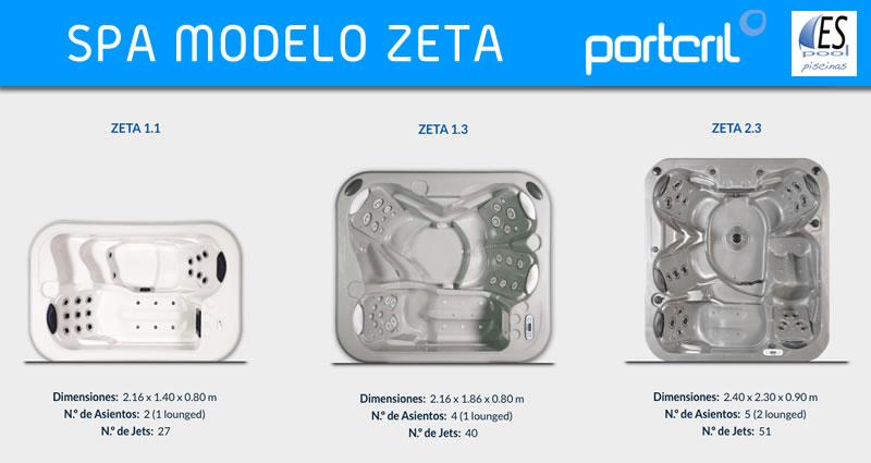 Spa modelo Zeta de Portcril de venta en Espool Piscinas, tienda oficial de Spas Portcril