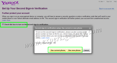 Second Sign-in Verification Setup