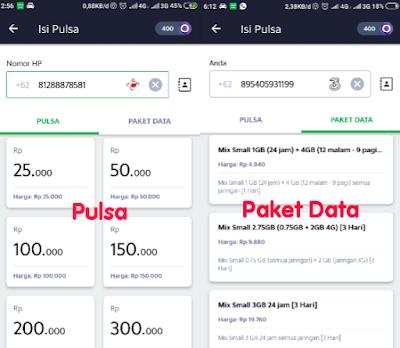Nominal pulsa dan paket data di aplikasi Grab Driver