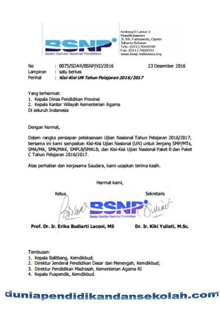Surat Edaran Dan Kisi-Kisi Ujian Nasional Tahun Pelajaran 2016/2017 Untuk Smp, Mts,Ma,Sma,Mak,Smk,Slb, Sdlb,Smplb,Paket B Dan Paket C