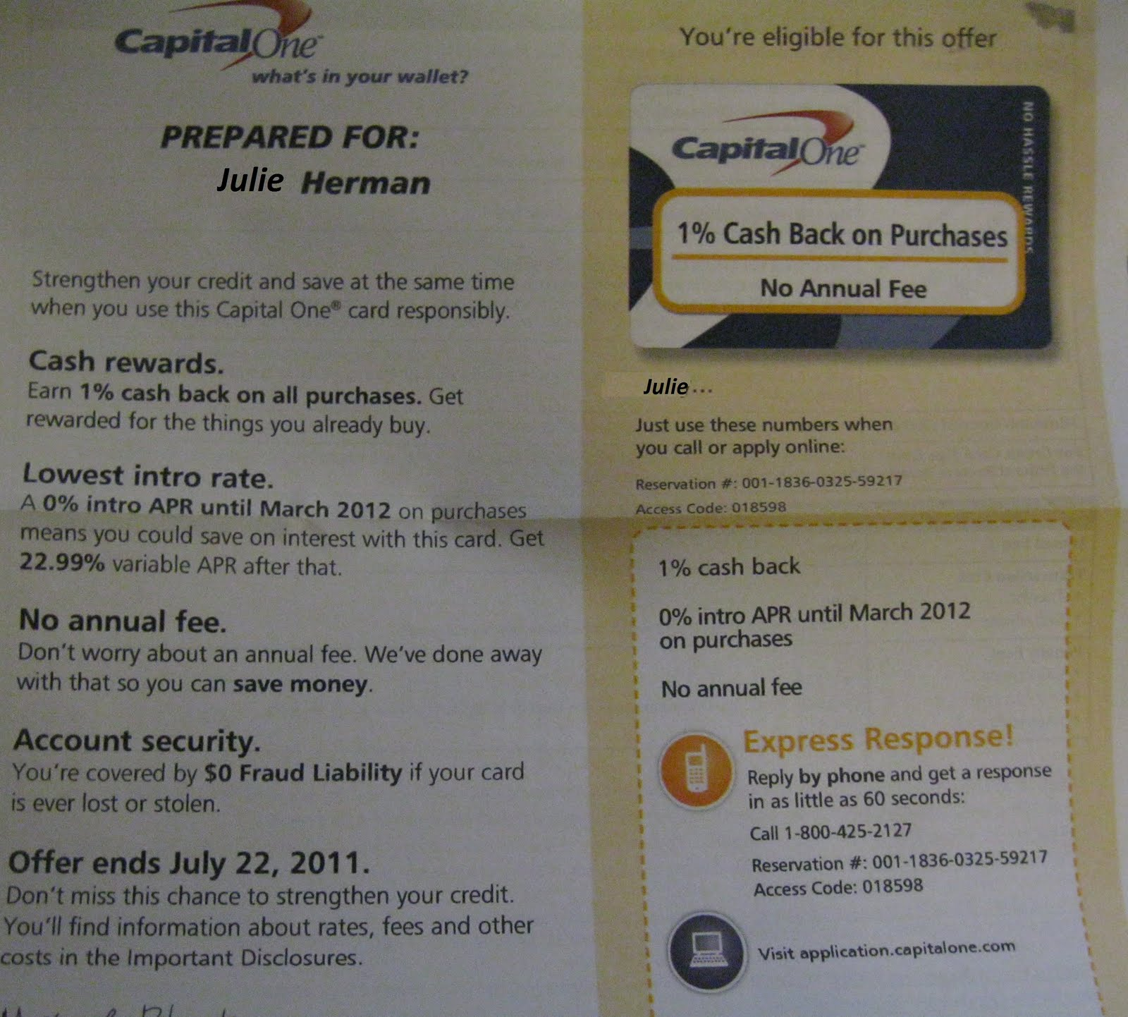 the herman letters: Post# 204 - Capital One: Stop Sending
