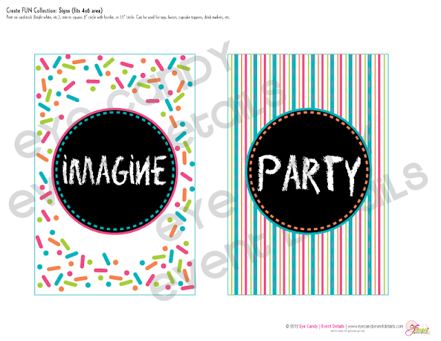 imagine, party, stripes, confetti pattern, signs for art party picnic