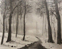 Landscape study work using 8B Cretacolour water soluble pencils, By Manju Panchal