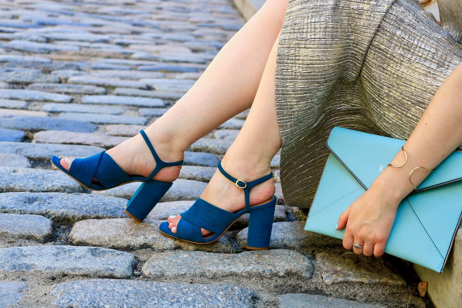 NYC fashion blogger wearing teal suede heels