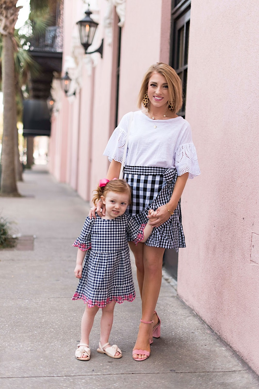 Twinning in Gingham in Charleston, SC. - Something Delightful Blog