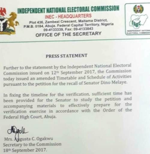 Sen. Dino Melaye's Recall: INEC Releases Amended Timetabe