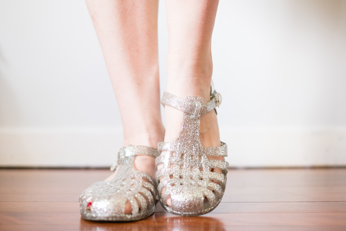 thrifted silver glitter jelly sandals