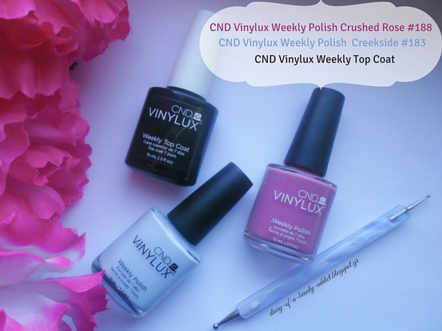 cnd vinylux weekly nail polish crushed rose greekside top coat