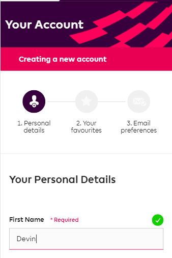 Register and enter details