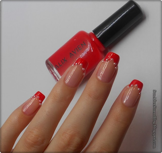 27 Red Nails Unghii Rosii Sabloane French Sun After Storm