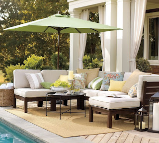 beautiful pottery barn patio combined with brown rug plus sectional seating and round coffee table