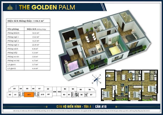 Mặt bằng căn A11 tòa A chung cư The Golden Palm