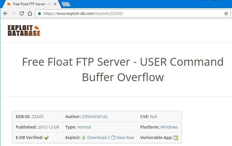 Whitelist: STACK OVERFLOW / 5 - Exploiting Free Float FTP ftp server