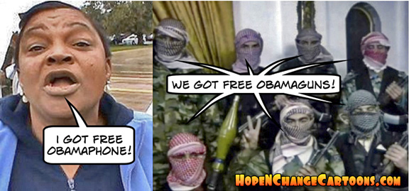 obama, obama jokes, cartoon, obamaphone, guns, syria, rebels, al qaeda, hope n' change, hope and change, stilton jarlsberg