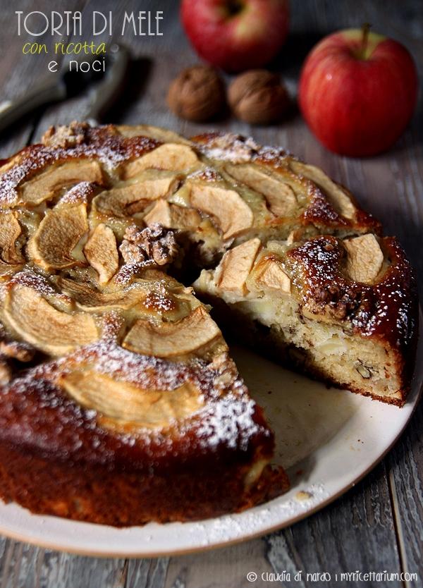 Torta di mele con ricotta e noci
