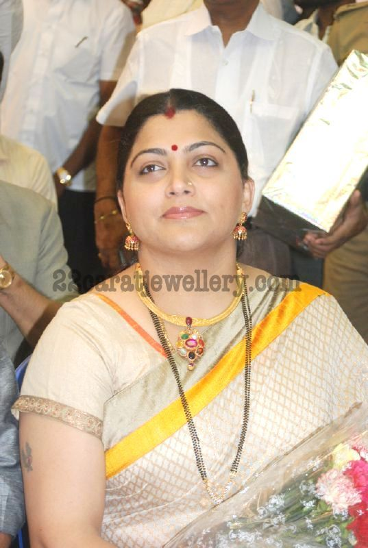 Kushboo In Mangal Sutra Black Beads And Choker With