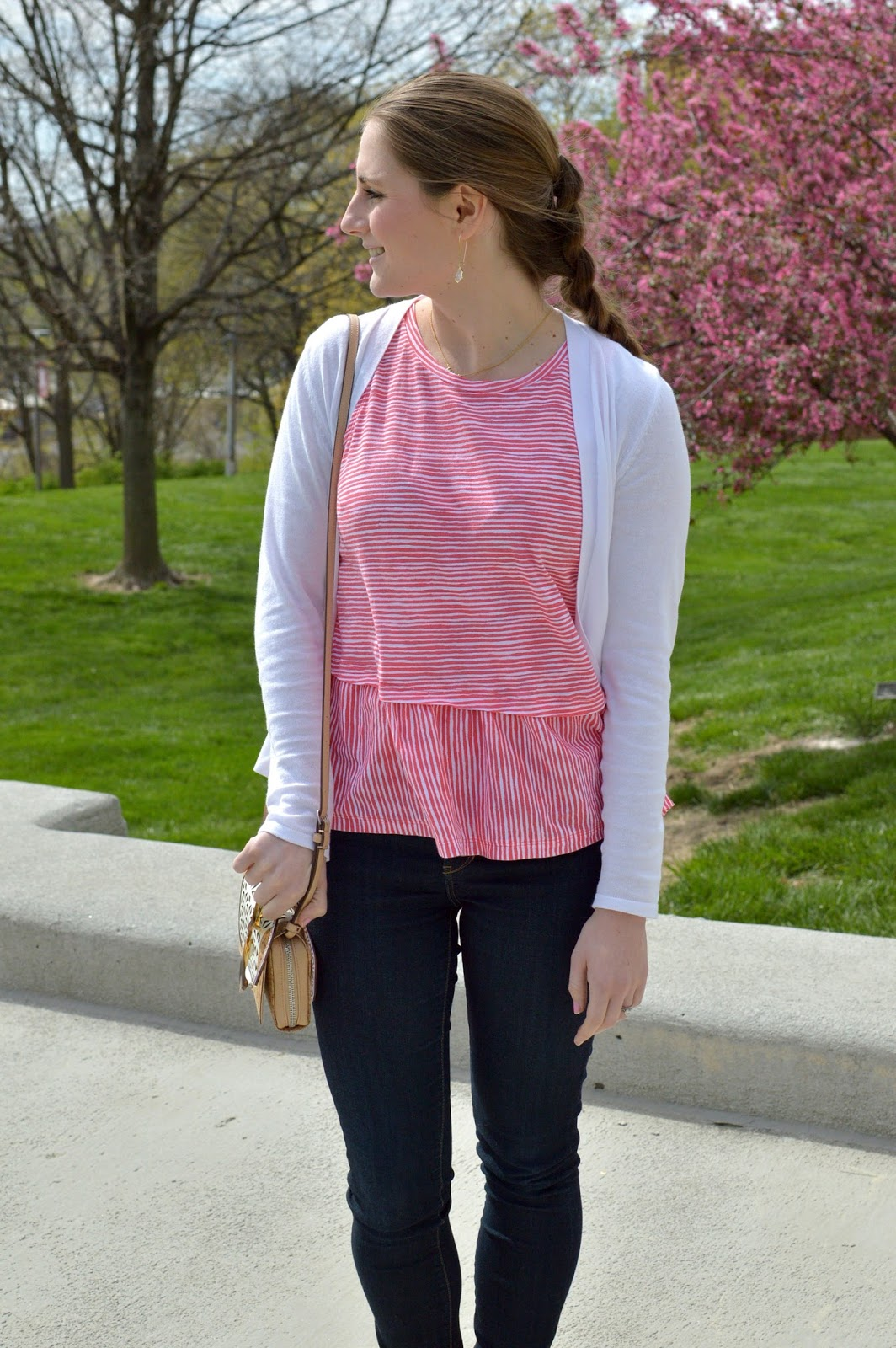 red and white striped peplum top | spring outfit ideas | what to wear this spring | a memory of us