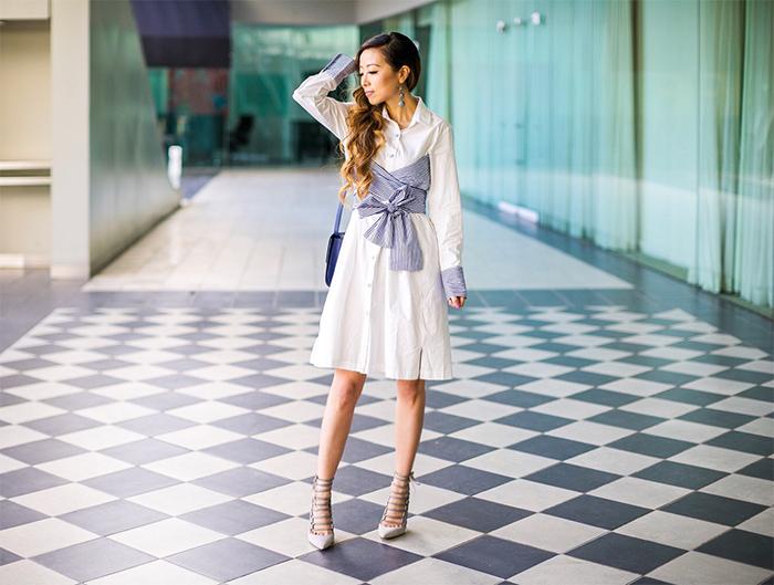 bow knot shirt dress, shirt dress, baublebar earrings, celine classic box bag, aquazzurua lace up heels, spring style, san francisco fashion blog