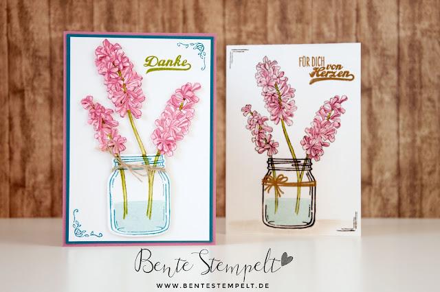 Stampin Up Stempelset Glasklare Grüße Helping me grow Jar Framelits Einweckgläser zarte Pflaume sugarplum blumen 3D dimensional
