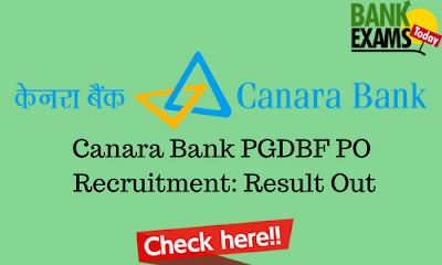 Canara Bank PGDBF PO Recruitment: Result Out