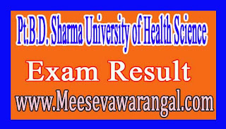 Pt.B.D Sharma University of Health Science MD / MS Supply Oct 2016 Exam Results