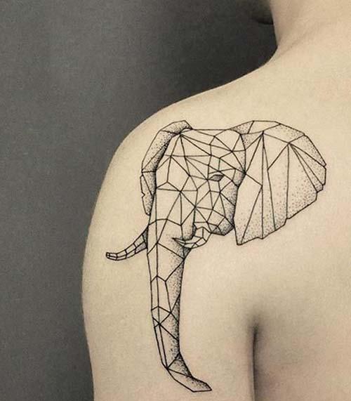 geometrik fil kadın omuz dövmeleri geometric elephant woman shoulder tattoos