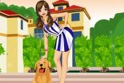 لعبة تلبيس فتاة مع كلب