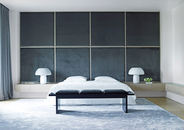 Modern luxury upholstered wall in bedroom minimal sophisticated interior design by Piet Boon