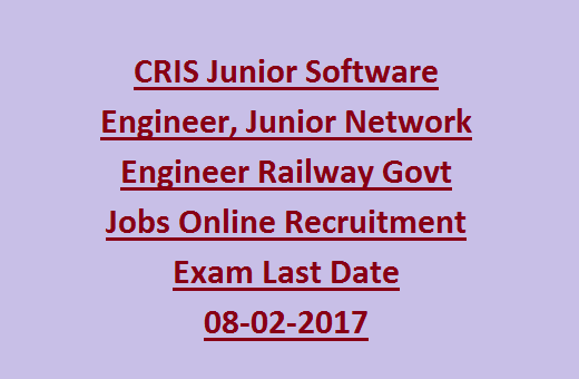 CRIS Junior Software Engineer Junior Network Engineer Railway – Jr Network Engineer Jobs