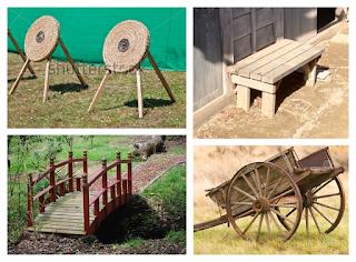 Dianas de tiro, banco periodo Edo, puente y carro.