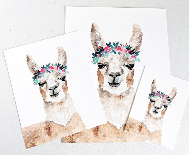 Watercolor Llama Prints by Elise Engh Watercolors