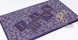 Linda Vich Creates: Stitched Thank You Cards. This simple thank you card makes use of gold embossed layered die cuts and a die cut sentiment thinlit.