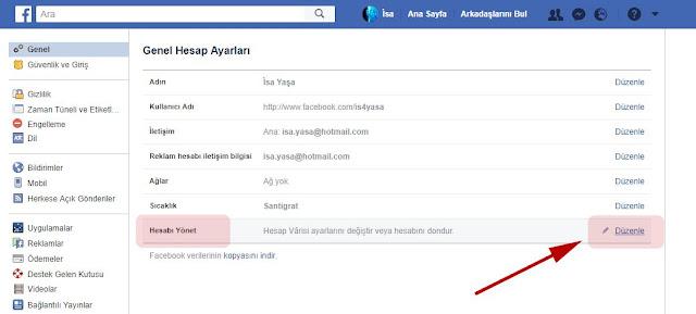 Facebook hesabını yönet
