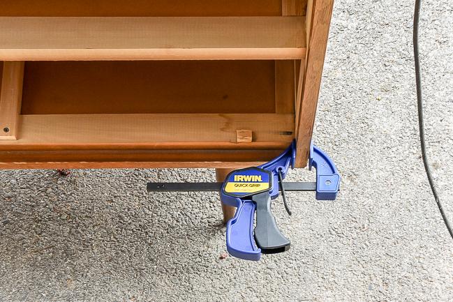 Repairing loose veneer on a mid century modern dresser