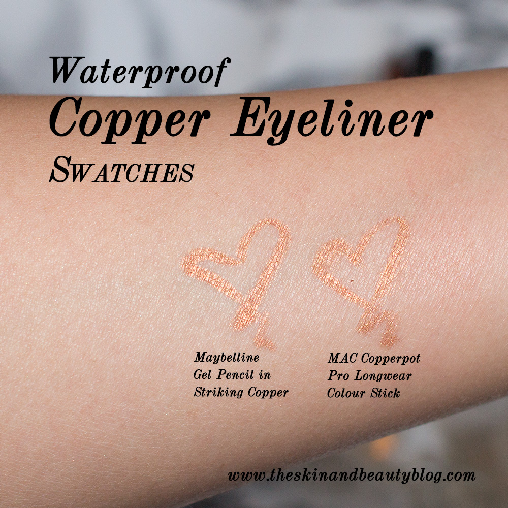 Maybelline Eyestudio Lasting Drama Waterproof Gel Pencil Striking Copper & MAC Copperpot Pro Longwear Colour Stick  on NC30 Skin