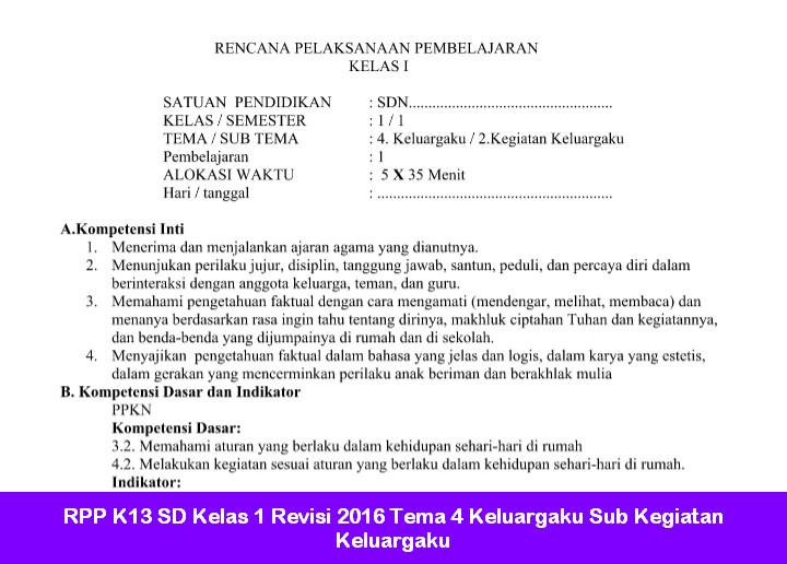 RPP K13 SD Kelas 1 Revisi 2016 Tema 4 Keluargaku Sub Kegiatan Keluargaku
