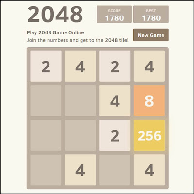 Screenshot of the math game 2048 from KenKen