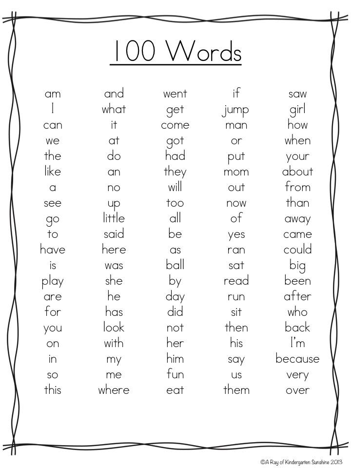 Slide1 - Kindergarten Word List