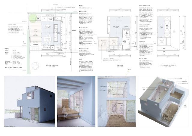 光や風、空と共に暮らす都市型狭小住宅 平面計画・外観と内観のイメージ