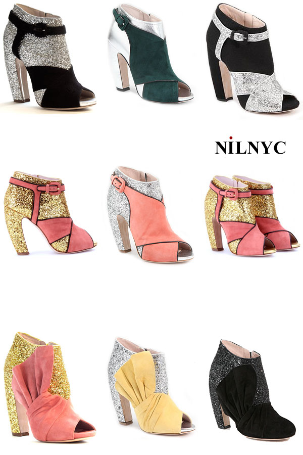 831c1704a893 Miu Miu Glitter   Suede Bow Peep Toe Ankle Boots prices  890.00
