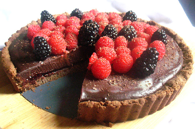 Vegan Dark Chocolate Truffle Tart with Mixed Berries
