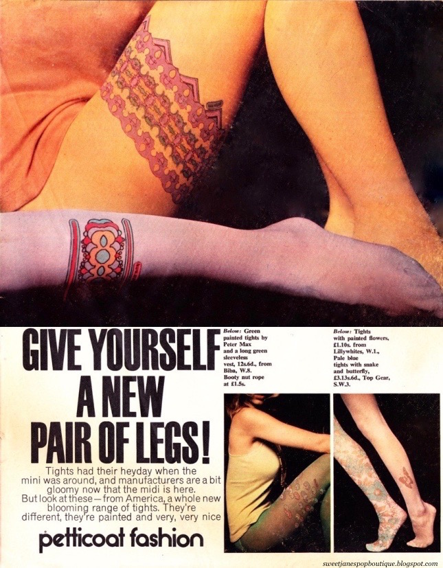 MODELS WEARING TIGHTS DESIGNED BY PETER MAX IN 1970.