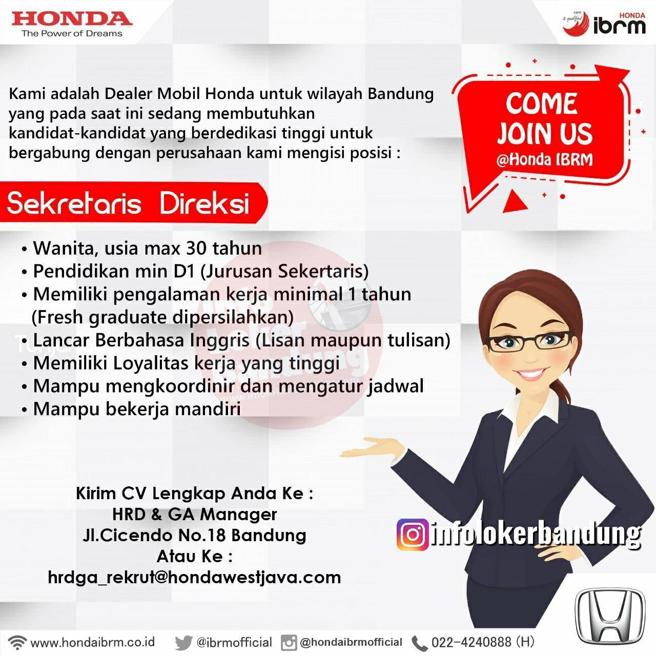 Lowongan Kerja Sekretaris Direksi Honda IBRM Bandung Mei 2019