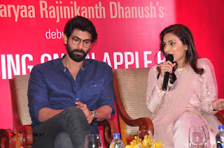 Aiswarya Rajinikanth Dhanush Standing on an Apple Box Launch Stills in Hyderabad  0060.jpg