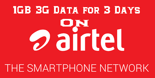 Airtel Free 1GB Internet Data For all Airtel Users with 3 Day Validity