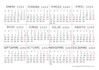 Calendario Del Ano 2020 En Espanol.Peque Pasatiempos Calendario De Peque Pasatiempos 2019