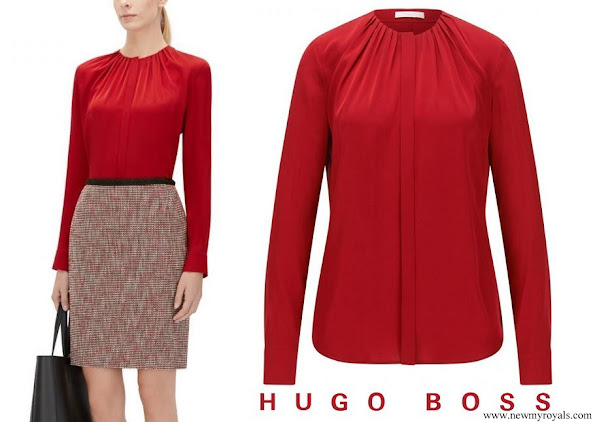 Queen Letizia wore Hugo Boss Banora red gathered neck silk blouse
