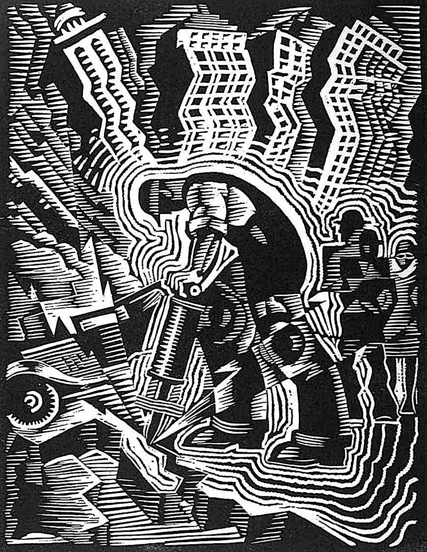 a Charles Turzak wood cut, man with jackhammer