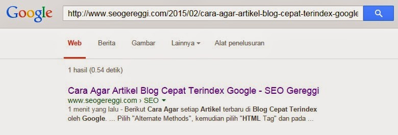 1 menit artikel terindex Google Search Engine